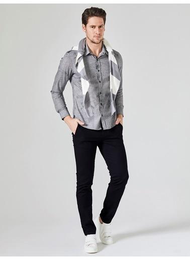 Xint Uzun Kollu Baskılı Gömlek Siyah